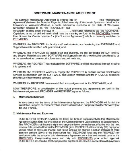Software Support Agreement Template Maintenance And Document It Contract Yogatreestudio Us Software Support Maintenance Agreement Template
