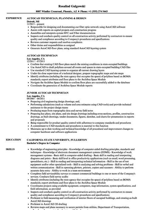 autocad technician resume sles velvet