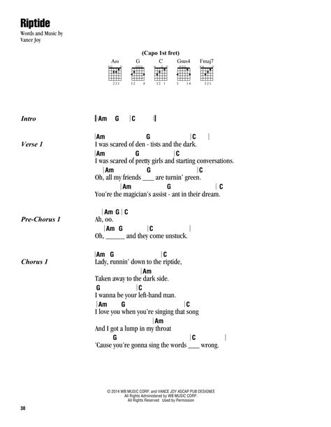 printable riptide lyrics riptide sheet music by vance joy lyrics chords 163187