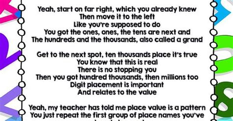 There Is A Place Song Lyrics Place Value Song Lyrics Free Song Lyrics Math Songs And Free Songs