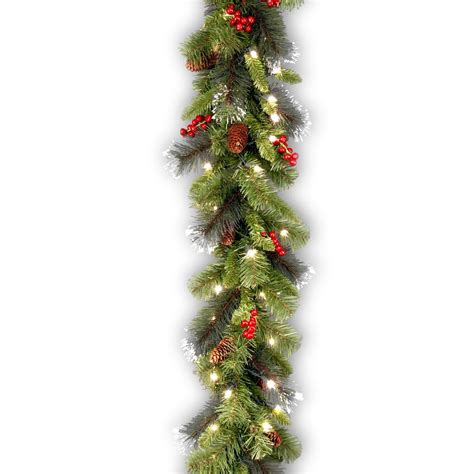 9 ft crestwood spruce garland with battery operated warm