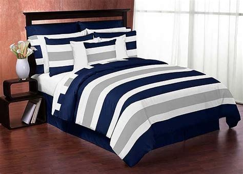 navy gray stripe comforter set 3 piece full queen size