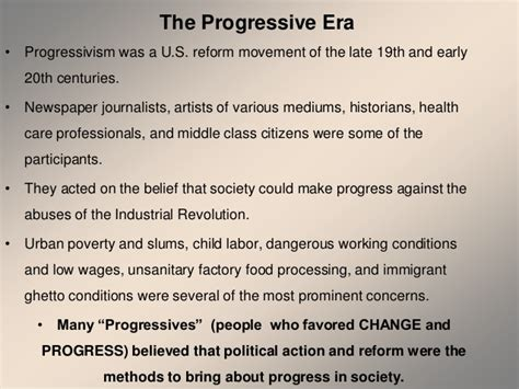 Outline Five Areas Of Asas Reform by Progressive Era