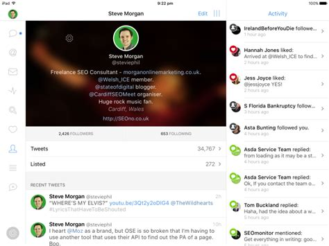 twitter ipad layout quick twitter bio tip utilise returns for a better layout