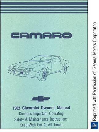 motor auto repair manual 1982 chevrolet camaro transmission control 1982 chevrolet camaro owner s manual gm part no 14042955a