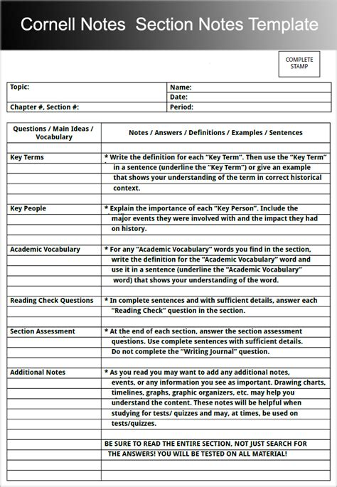 Resume Sample Images by 8 Printable Cornell Notes Templates Free Word Pdf Format