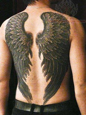 Black Ink Angel Wings Tattoo On Back Wings On Back Tattoos 2