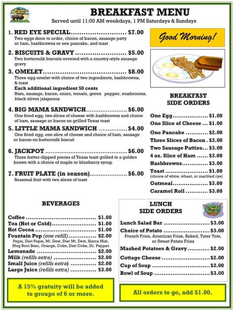breakfast lunch and dinner menu template breakfast menu the golden buffalo casino