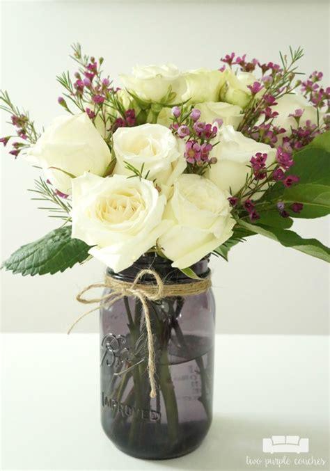 diy flower arrangements diy jar flower arrangement with kroger roses two