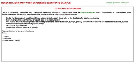 Research Experience Letter Sle Social Science Research Assistant Work Experience Certificates