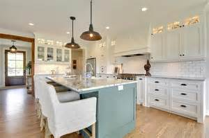 Stainless Steel Topped Kitchen Islands green blue kitchen island with gray and white granite