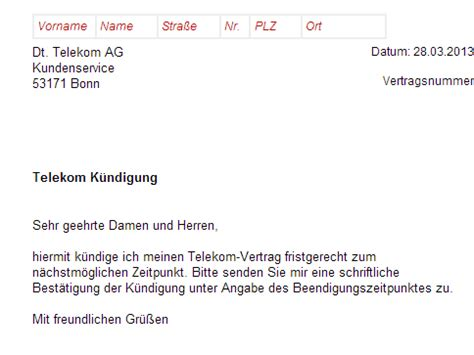 Telekom Anschreiben Adrebe K 252 Ndigung Telekom Dsl Vertrag Vorlage Chip