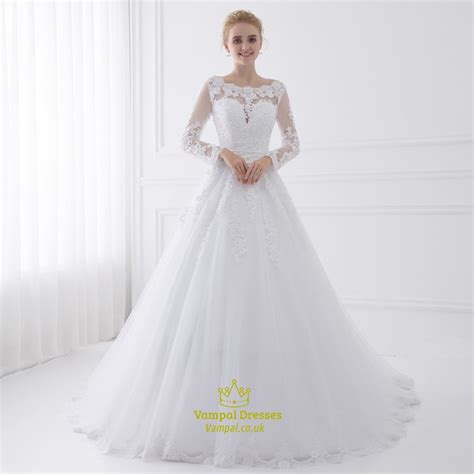 illusion long sleeve floor length   tulle ball gown