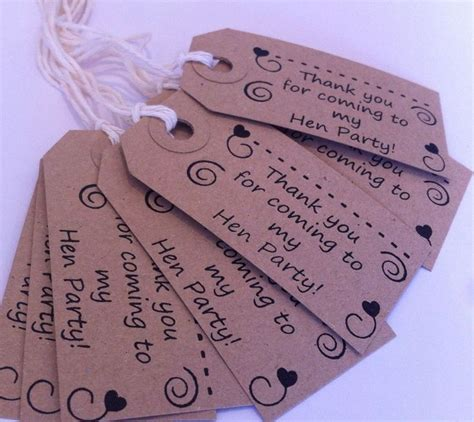 printable name tags for gift bags hen do thank you for coming table favours or party gift