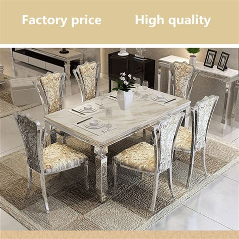 Contemporary Modern Dining Set Stainless Steel Marble Top Dining Table Set Steel