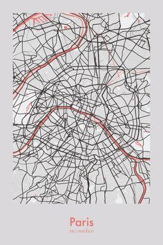 paris map print city map poster paris map  city maps