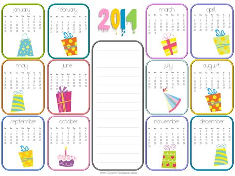 7 best images of monthly birthday calendar printable
