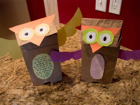 Paper Bag Owl Craft - brown paper bag owl puppet crafts activities for
