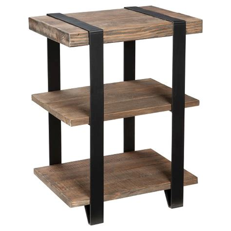 reclaimed wood and metal end table 12 quot 2 shelf end table metal and reclaimed wood brown