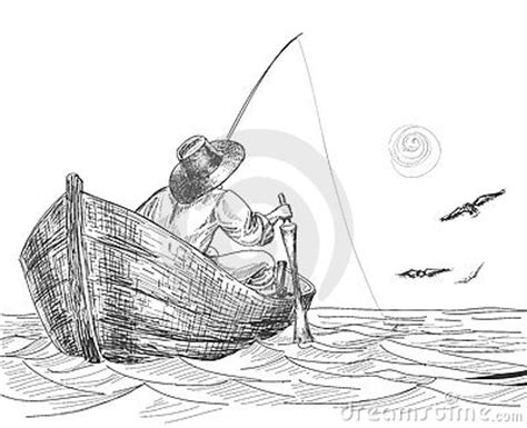how to draw a fisherman boat fisherman drawing stock photos image 18336083