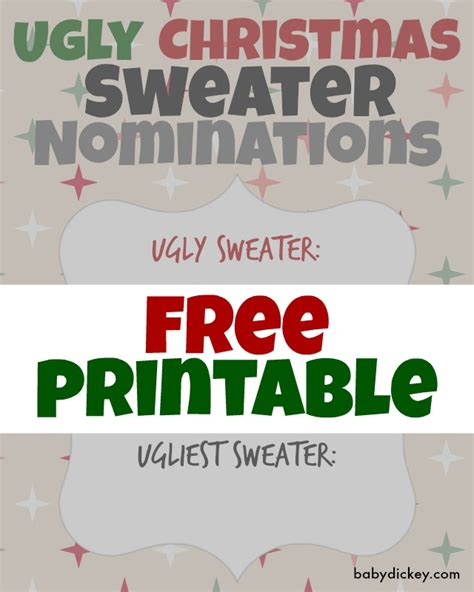free ugly sweater printables sweater printables bark recipe