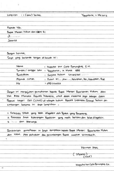 Surat Lamaran Cpns Kejaksaan Tulis Tangan by 25 Contoh Surat Lamaran Kerja Yang Baik Dan Benar Doc