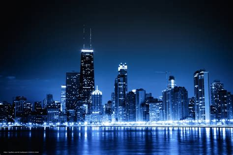 city of chicago light wallpaper chicago blue city lights free