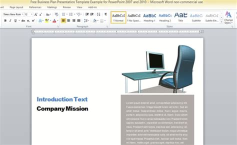 Business Report Template For Microsoft Word Word Presentation Templates