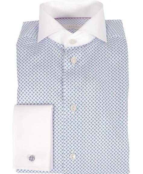 pattern shirt with white collar eton white paisley pattern contrast collar cuff shirt