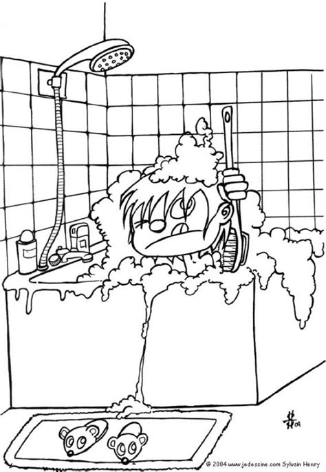 Page Shower by Bathroom Coloring Pages Hellokids