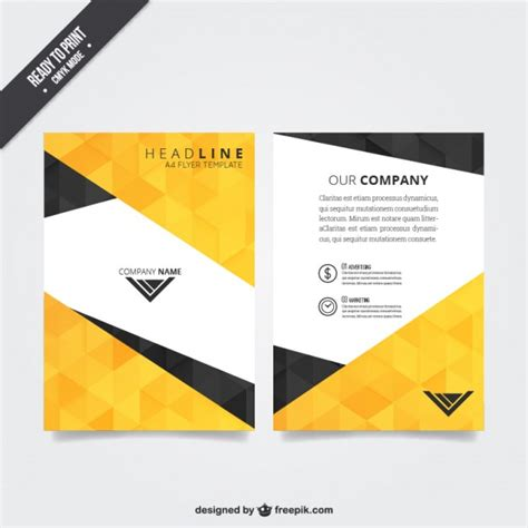 flier template flyer template with polygonal pattern vector free