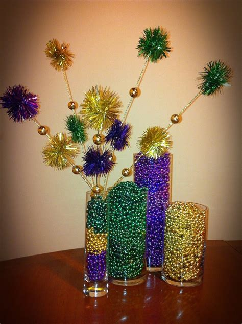 beads decoration home mardi gras centerpiece with vases filled with beads