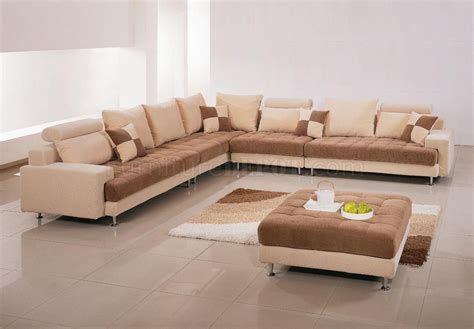 sectional or two sofas two tone fabric modern sectional sofa w ottoman pillows