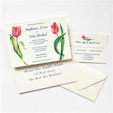 tulip wedding invitations watercolor tulips mospens studio custom
