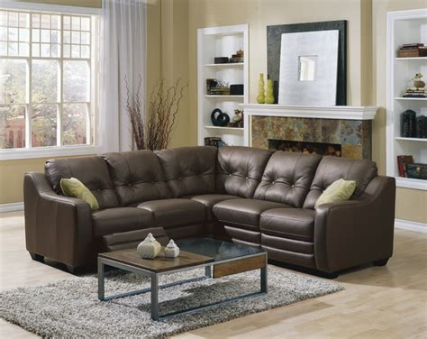 Small Leather Sectional With Recliner Reclining Motion Furniture Traditional Sectional