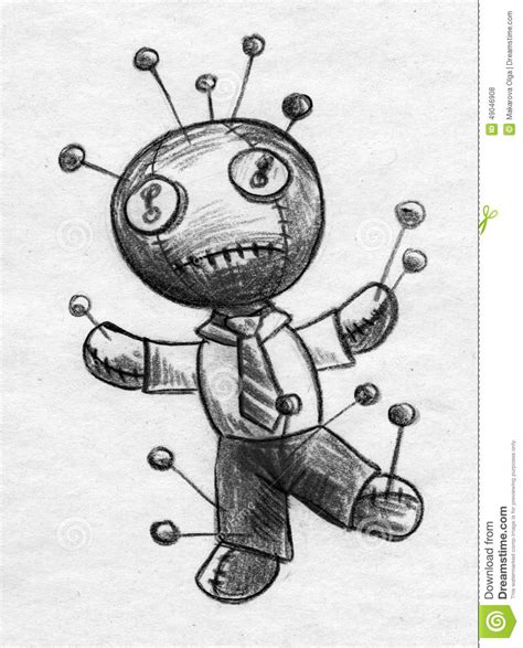 businessman voodoo doll sketch stock illustration