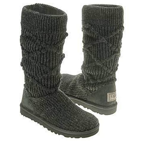 Ugg Classic Argyle Knit Boots 5879 Brown P Ugg Classic Argyle Knit Boots Grey