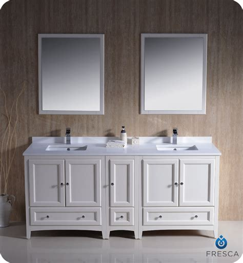 bathroom double sink cabinets 72 quot fresca oxford fvn20 301230aw traditional double sink
