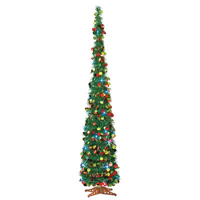 lighted slim pull up christmas tree 65 quot from collections etc