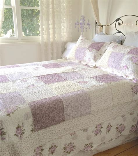 shabby chic king bedding king bed country lavender shabby rag roses chic patchwork quilt bedspread set ebay
