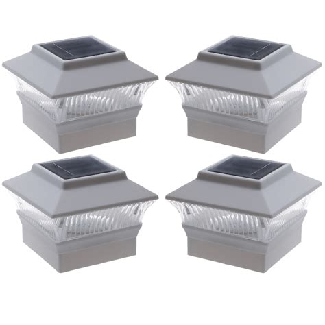 4 pack solar power white outdoor garden deck patio 4x4 pvc