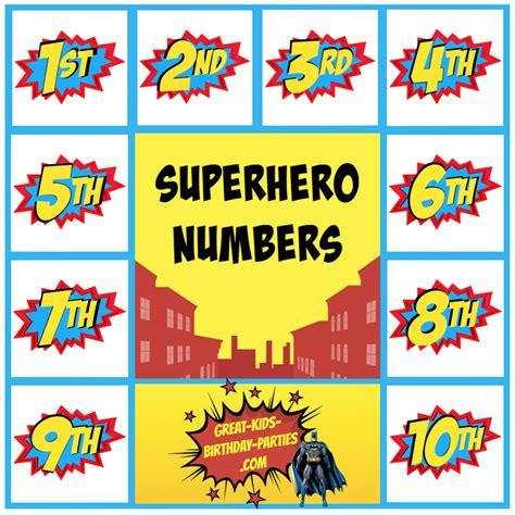 printable superhero numbers superhero printables