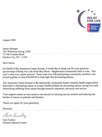 Thank You Letter For Donation To American Cancer Society Metzger Everything I Needed To About Business I Learned On The Sports Field