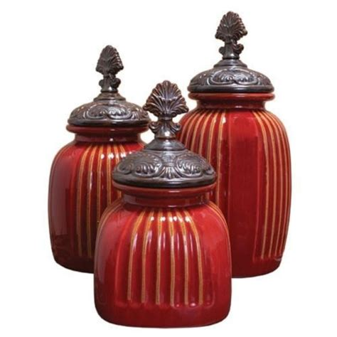 red ceramic canisters for the kitchen tuscan red s 3 ceramic ribbed canister set kitchen fan