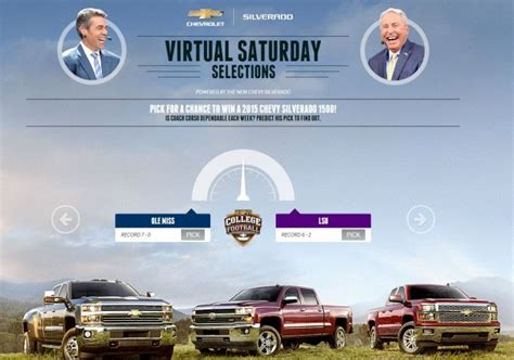 Sweepstakes In Texas - win a silverado via espn s chevy virtual saturday selections sweepstakes the news