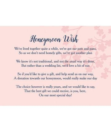 Honeymoon Gift Cards - wedding gift wish poem cards