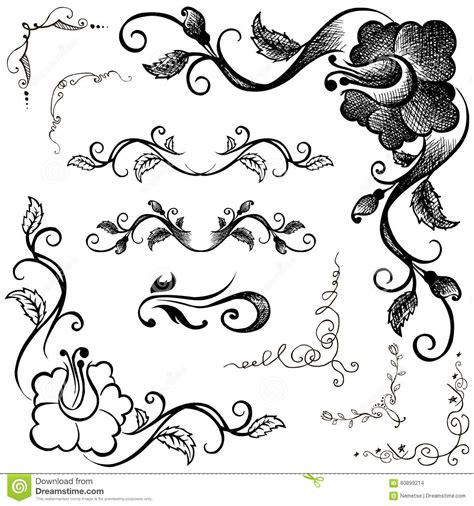 pattern frame drawing doodle border and floral patterns hand drawing stock