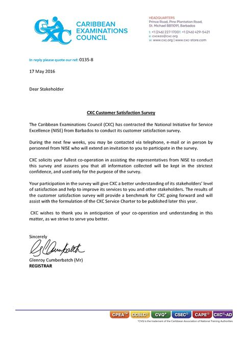 Customer Letter Of Satisfaction Template Cxc Customer Satisfaction Survey Caribbean Examinations Council