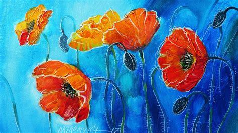 dipingere fiori ad olio come dipingere papaveri in 3d colori ad olio
