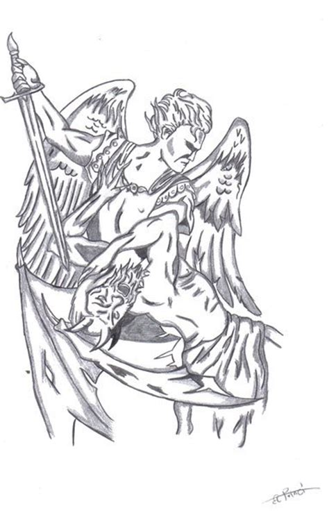 tattoo angel killing demon angel and demon by pechetj on deviantart